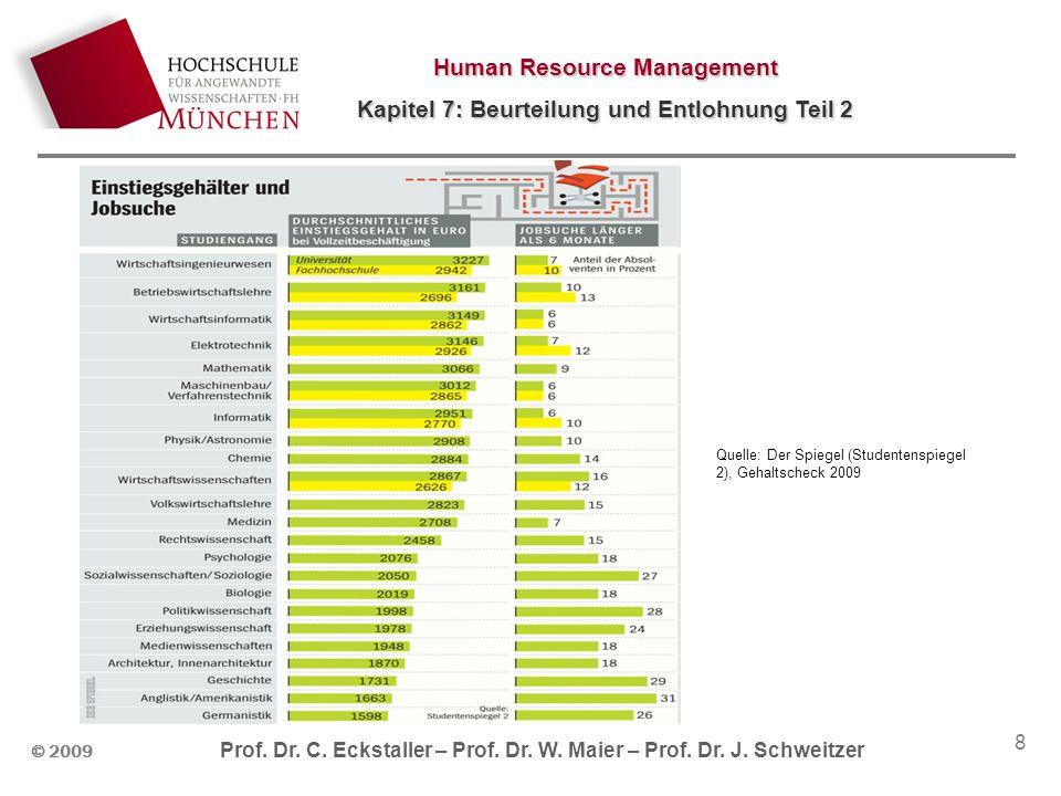 Human Resource Management Kapitel 7: Beurteilung und Entlohnung Teil 2 © 2009 Prof. Dr. C. Eckstaller – Prof. Dr. W. Maier – Prof. Dr. J. Schweitzer 8