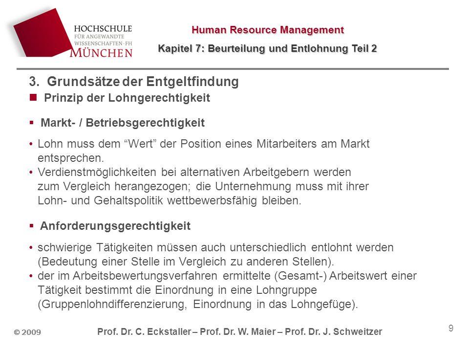 Human Resource Management Kapitel 7: Beurteilung und Entlohnung Teil 2 © 2009 Prof. Dr. C. Eckstaller – Prof. Dr. W. Maier – Prof. Dr. J. Schweitzer 9
