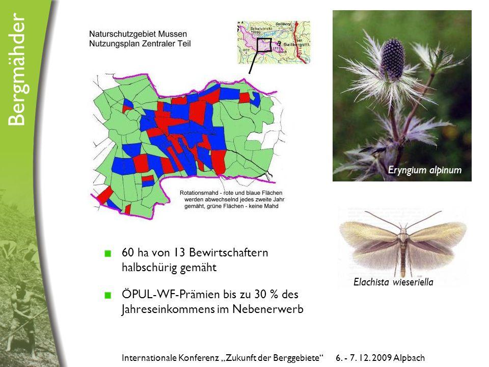 """60 ha von 13 Bewirtschaftern halbschürig gemäht ÖPUL-WF-Prämien bis zu 30 % des Jahreseinkommens im Nebenerwerb Internationale Konferenz """"Zukunft der Berggebiete 6."""