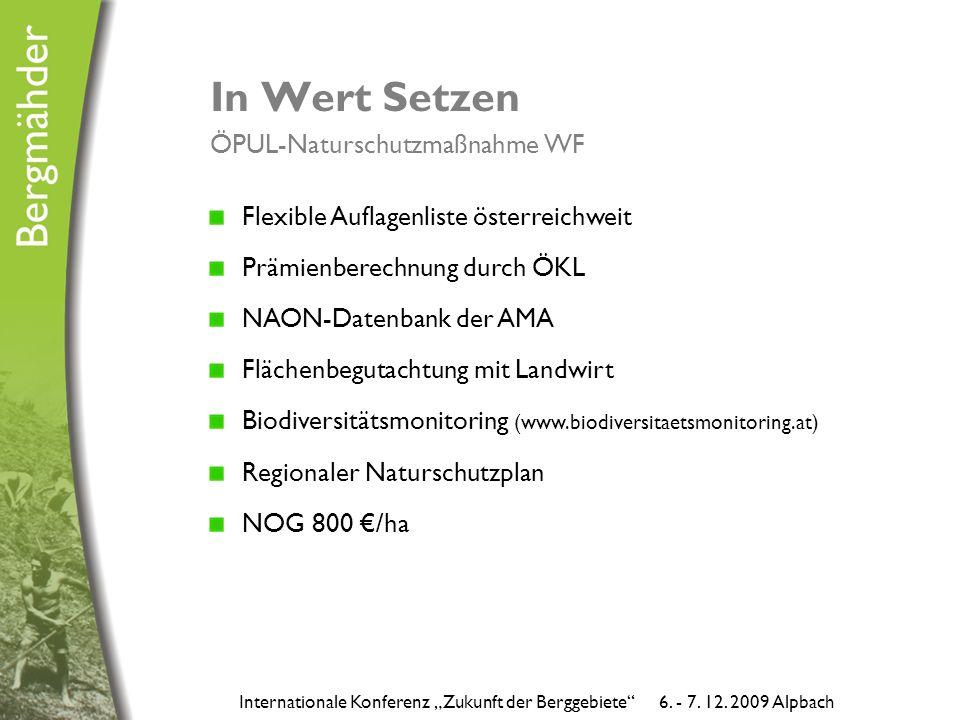 """In Wert Setzen ÖPUL-Naturschutzmaßnahme WF Internationale Konferenz """"Zukunft der Berggebiete 6."""