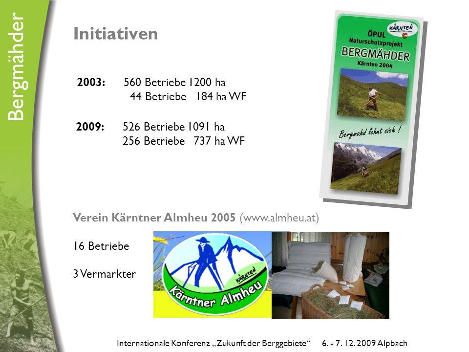 """Initiativen 2003: 560 Betriebe 1200 ha 44 Betriebe 184 ha WF Verein Kärntner Almheu 2005 (www.almheu.at) 16 Betriebe 3 Vermarkter Internationale Konferenz """"Zukunft der Berggebiete 6."""