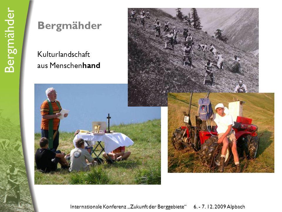 """Bergmähder Kulturlandschaft aus Menschenhand Internationale Konferenz """"Zukunft der Berggebiete 6."""
