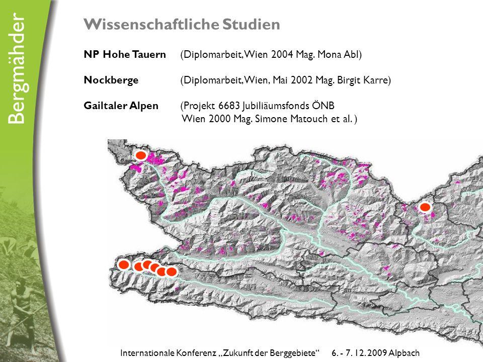 Wissenschaftliche Studien NP Hohe Tauern (Diplomarbeit, Wien 2004 Mag.