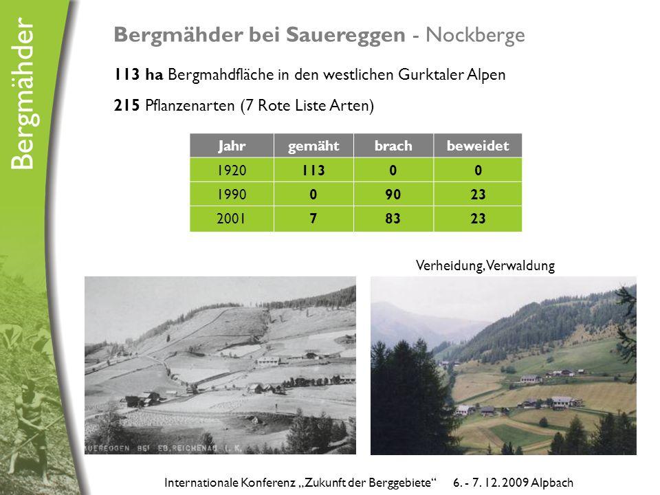 """Bergmähder bei Sauereggen - Nockberge 113 ha Bergmahdfläche in den westlichen Gurktaler Alpen 215 Pflanzenarten (7 Rote Liste Arten) Jahrgemähtbrachbeweidet 192011300 199009023 200178323 Internationale Konferenz """"Zukunft der Berggebiete 6."""