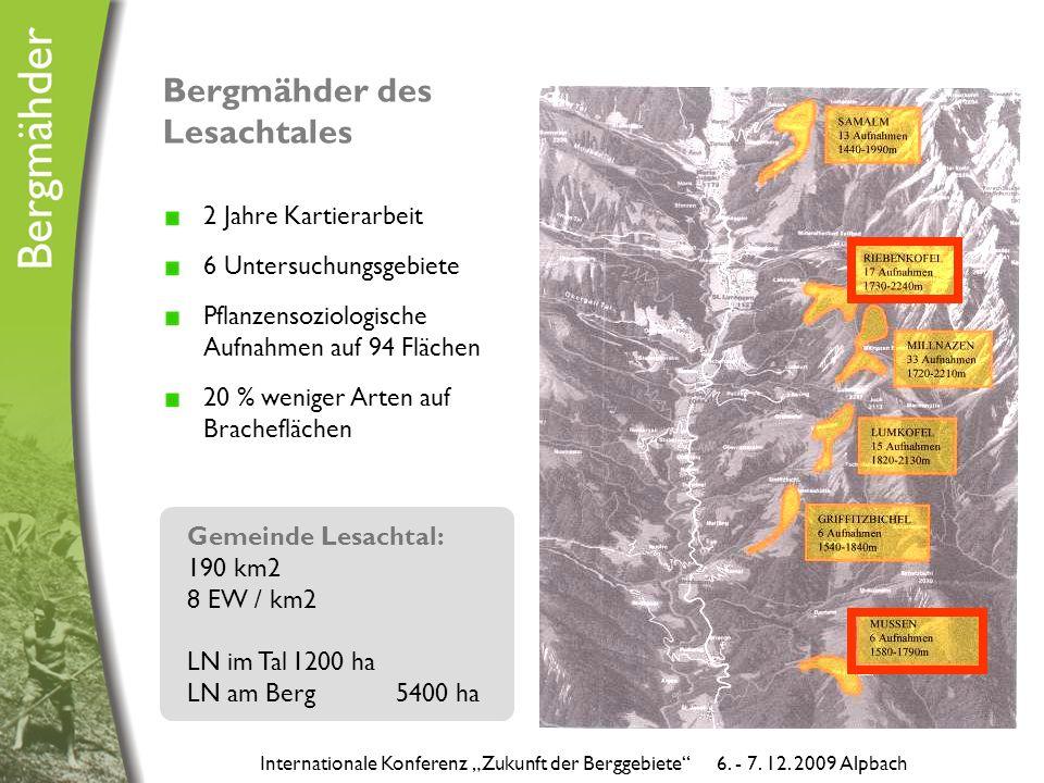 """Bergmähder des Lesachtales 2 Jahre Kartierarbeit 6 Untersuchungsgebiete Pflanzensoziologische Aufnahmen auf 94 Flächen 20 % weniger Arten auf Bracheflächen Internationale Konferenz """"Zukunft der Berggebiete 6."""