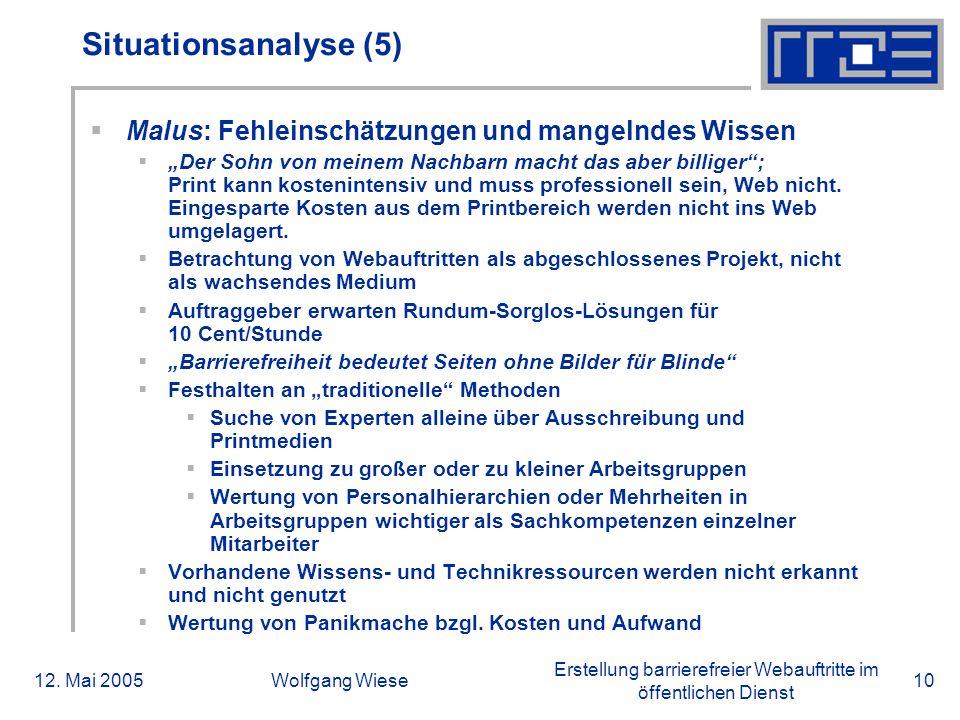 Erstellung barrierefreier Webauftritte im öffentlichen Dienst 12. Mai 2005Wolfgang Wiese10 Situationsanalyse (5)  Malus: Fehleinschätzungen und mange