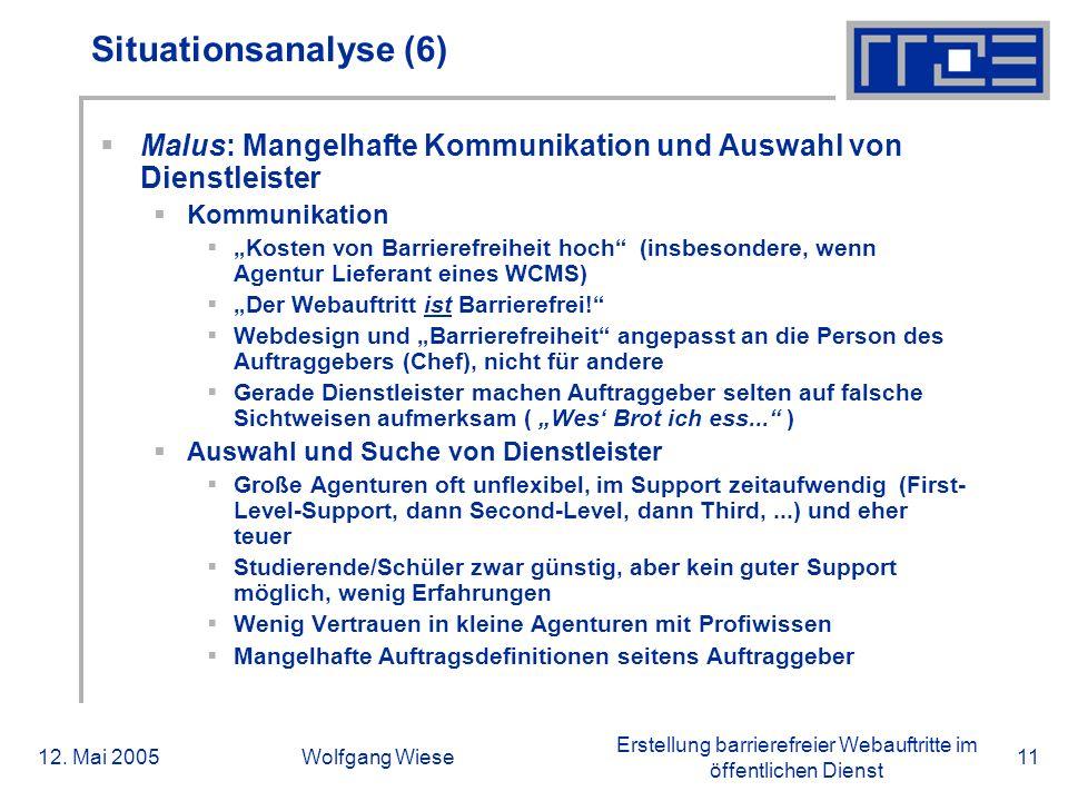 Erstellung barrierefreier Webauftritte im öffentlichen Dienst 12. Mai 2005Wolfgang Wiese11 Situationsanalyse (6)  Malus: Mangelhafte Kommunikation un