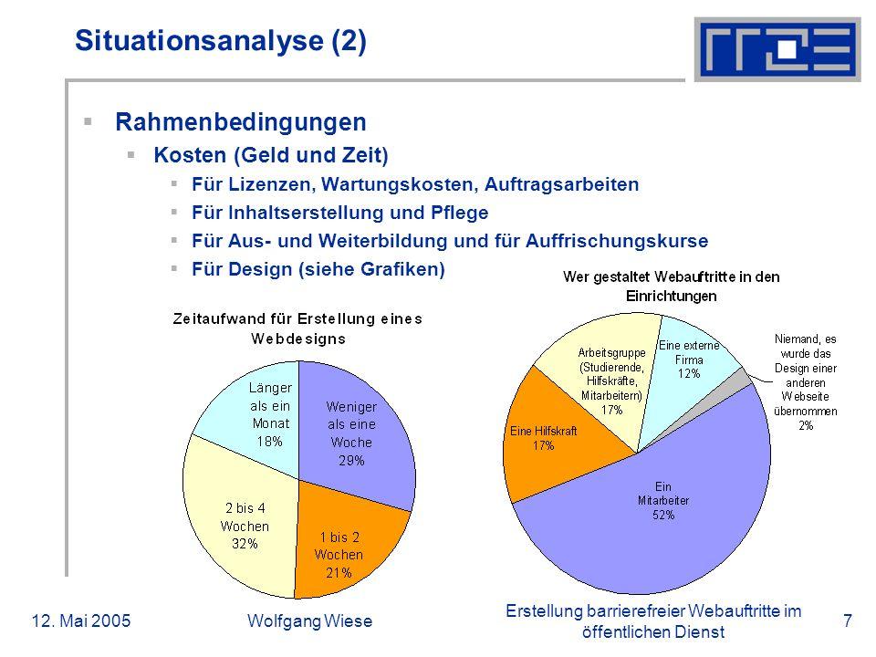 Erstellung barrierefreier Webauftritte im öffentlichen Dienst 12. Mai 2005Wolfgang Wiese7 Situationsanalyse (2)  Rahmenbedingungen  Kosten (Geld und
