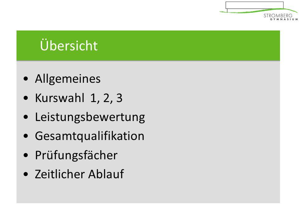 Allgemeines Kurswahl 1, 2, 3 Leistungsbewertung Gesamtqualifikation Prüfungsfächer Zeitlicher Ablauf Übersicht