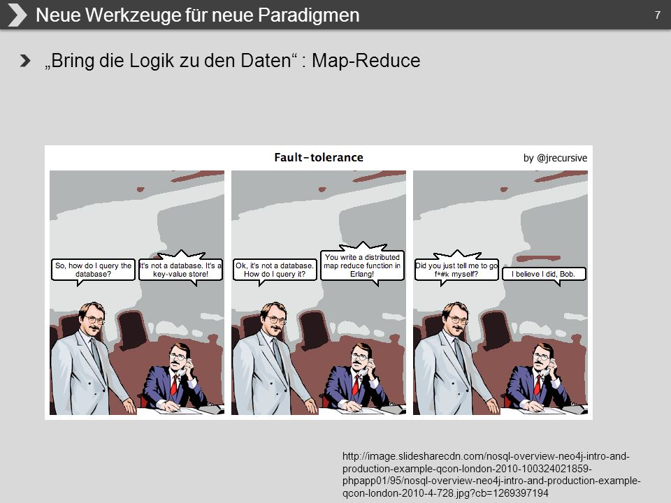 "7 ""Bring die Logik zu den Daten : Map-Reduce Neue Werkzeuge für neue Paradigmen http://image.slidesharecdn.com/nosql-overview-neo4j-intro-and- production-example-qcon-london-2010-100324021859- phpapp01/95/nosql-overview-neo4j-intro-and-production-example- qcon-london-2010-4-728.jpg cb=1269397194"