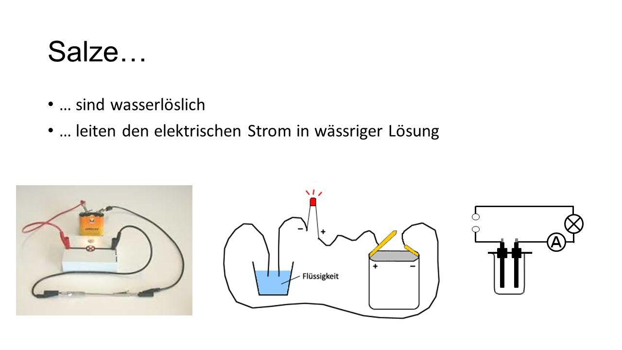 Salze… … sind wasserlöslich … leiten den elektrischen Strom in wässriger Lösung