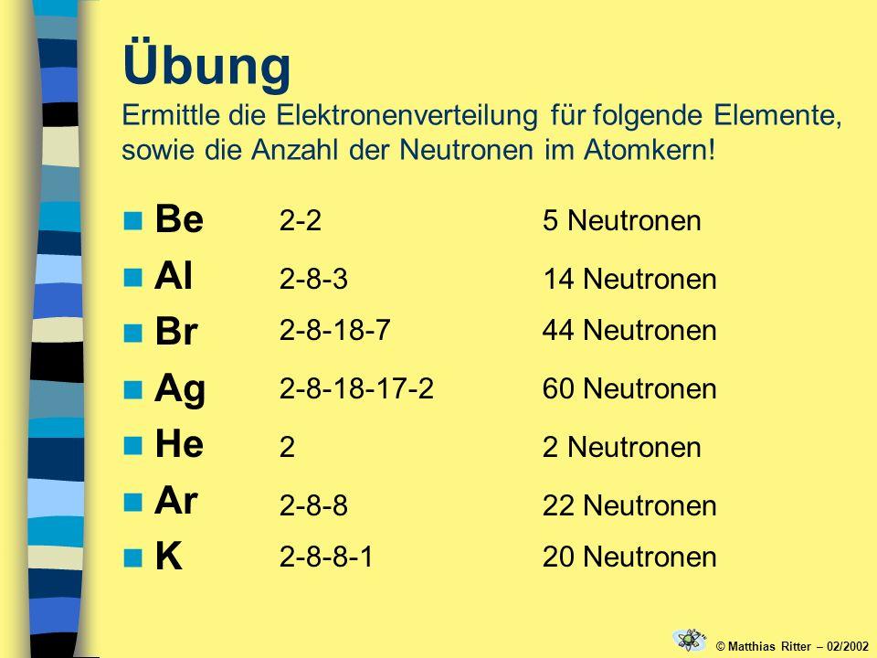 Übung Ermittle die Elektronenverteilung für folgende Elemente, sowie die Anzahl der Neutronen im Atomkern! Be Al Br Ag He Ar K 2-25 Neutronen 2-8-314
