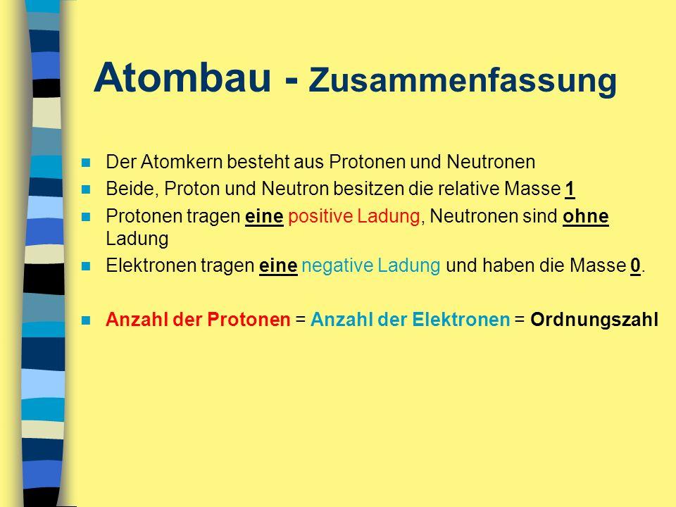 Atombau - Zusammenfassung Der Atomkern besteht aus Protonen und Neutronen Beide, Proton und Neutron besitzen die relative Masse 1 Protonen tragen eine
