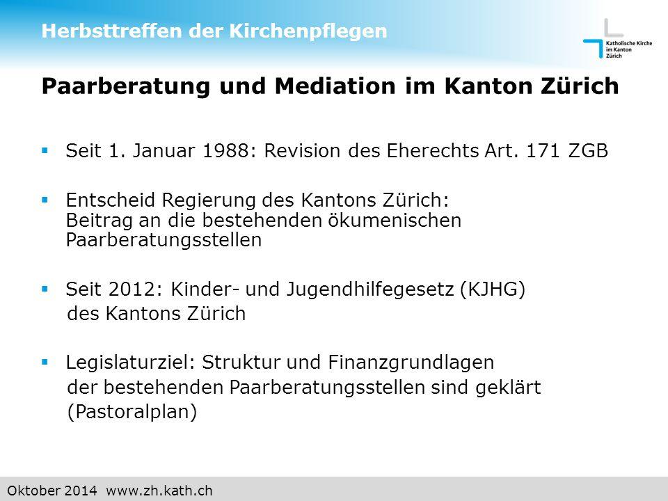 Oktober 2014 www.zh.kath.ch Paarberatung und Mediation im Kanton Zürich  Seit 1.