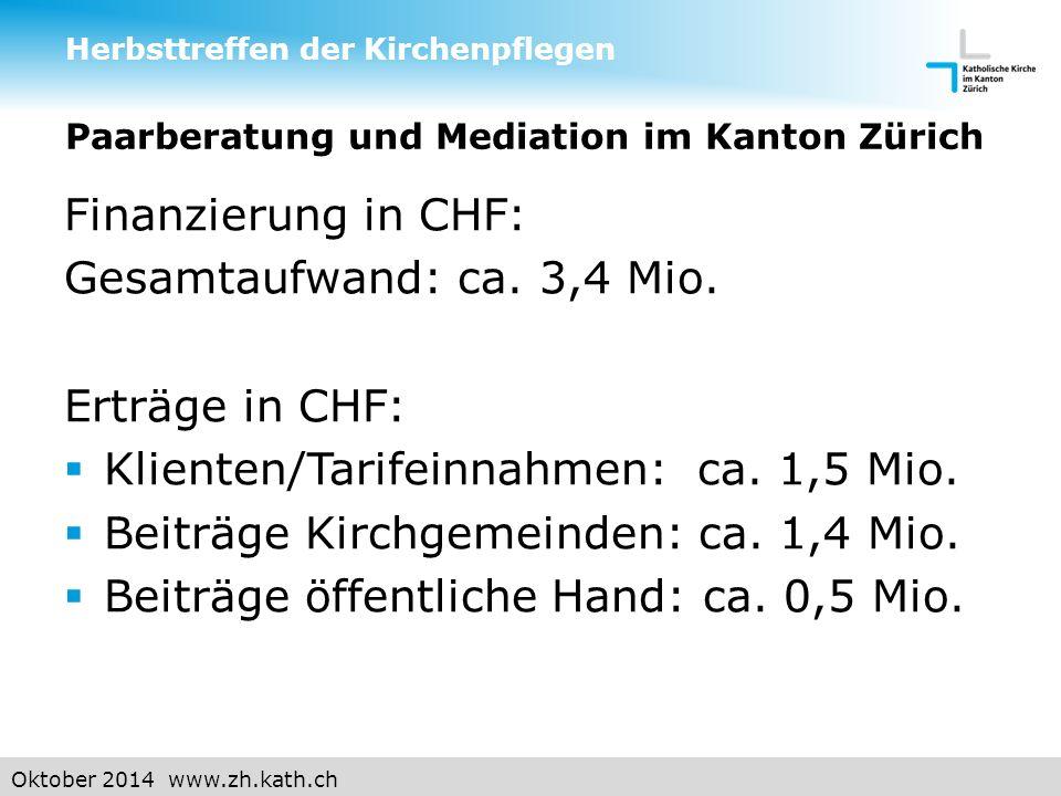 Oktober 2014 www.zh.kath.ch Paarberatung und Mediation im Kanton Zürich Finanzierung in CHF: Gesamtaufwand: ca.