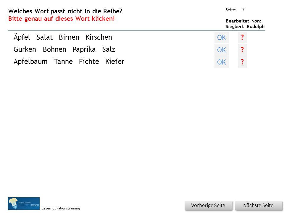 Übungsart: Seite: Bearbeitet von: Siegbert Rudolph Lesemotivationstraining 7 Welches Wort passt nicht in die Reihe.