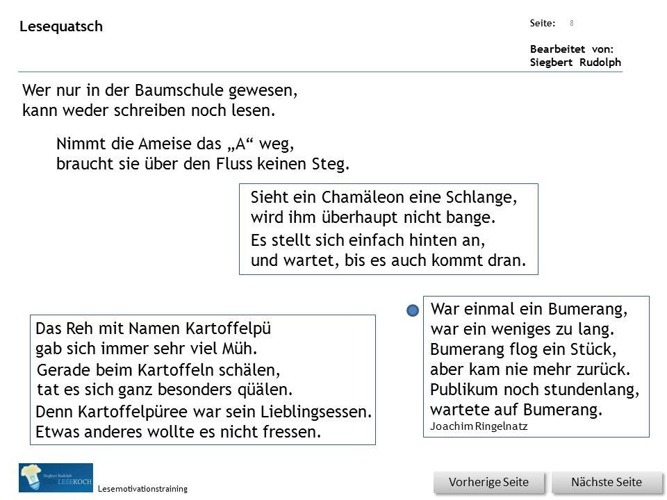 Übungsart: Seite: Bearbeitet von: Siegbert Rudolph Lesemotivationstraining Lesequatsch Wer nur in der Baumschule gewesen, kann weder schreiben noch lesen.