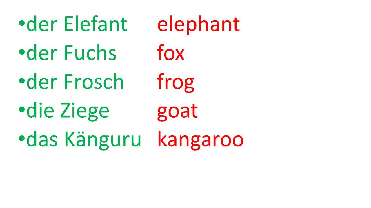 der Elefant elephant der Fuchs fox der Frosch frog die Ziege goat das Känguru kangaroo