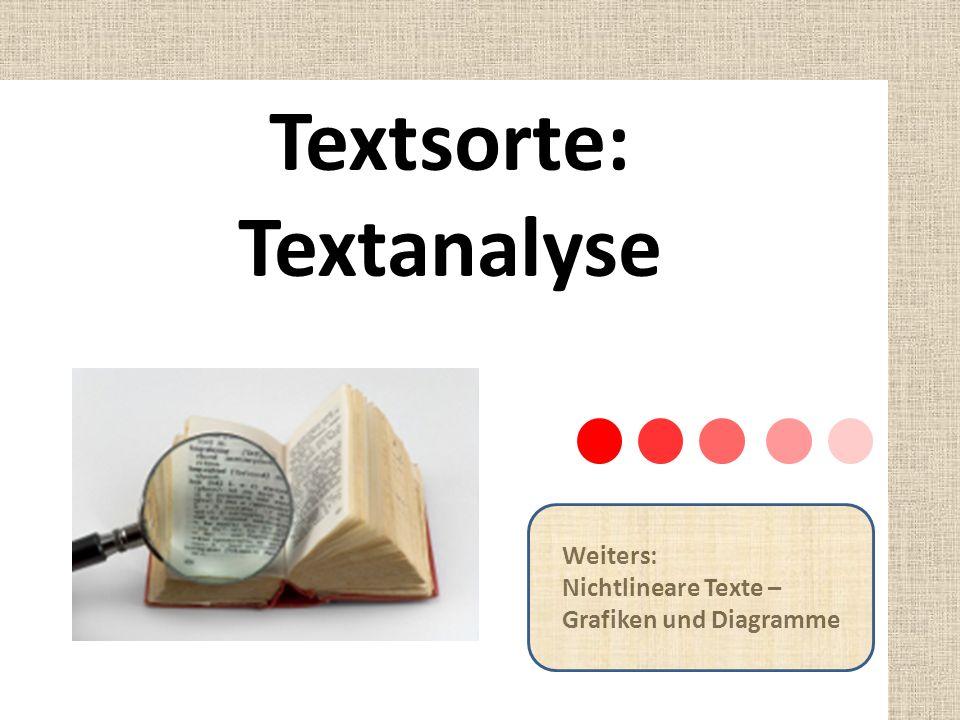 Textsorte: Textanalyse Weiters: Nichtlineare Texte – Grafiken und Diagramme