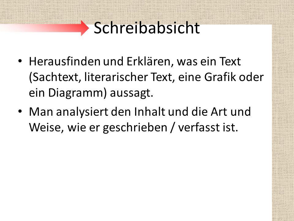 Schreibabsicht Herausfinden und Erklären, was ein Text (Sachtext, literarischer Text, eine Grafik oder ein Diagramm) aussagt. Man analysiert den Inhal
