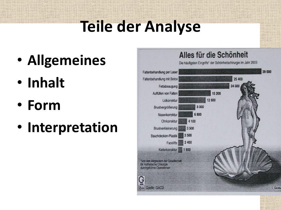 Teile der Analyse Allgemeines Inhalt Form Interpretation