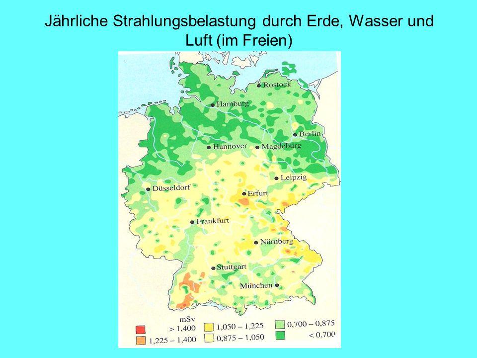 Jährliche Strahlungsbelastung durch Erde, Wasser und Luft (im Freien)