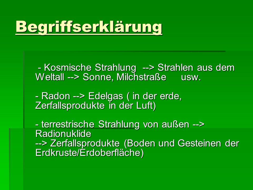 Begriffserklärung - Kosmische Strahlung --> Strahlen aus dem Weltall --> Sonne, Milchstraße usw. - Radon --> Edelgas ( in der erde, Zerfallsprodukte i
