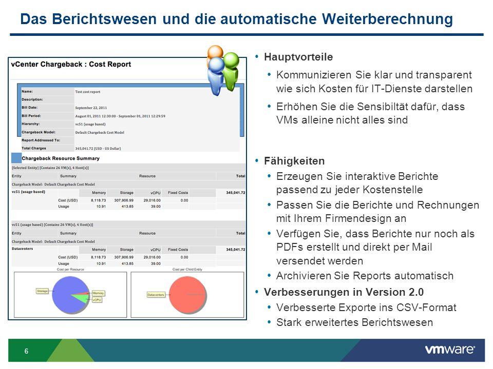 6 Das Berichtswesen und die automatische Weiterberechnung Hauptvorteile Kommunizieren Sie klar und transparent wie sich Kosten für IT-Dienste darstellen Erhöhen Sie die Sensibiltät dafür, dass VMs alleine nicht alles sind Fähigkeiten Erzeugen Sie interaktive Berichte passend zu jeder Kostenstelle Passen Sie die Berichte und Rechnungen mit Ihrem Firmendesign an Verfügen Sie, dass Berichte nur noch als PDFs erstellt und direkt per Mail versendet werden Archivieren Sie Reports automatisch Verbesserungen in Version 2.0 Verbesserte Exporte ins CSV-Format Stark erweitertes Berichtswesen