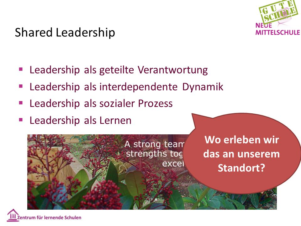 Shared Leadership  Leadership als geteilte Verantwortung  Leadership als interdependente Dynamik  Leadership als sozialer Prozess  Leadership als