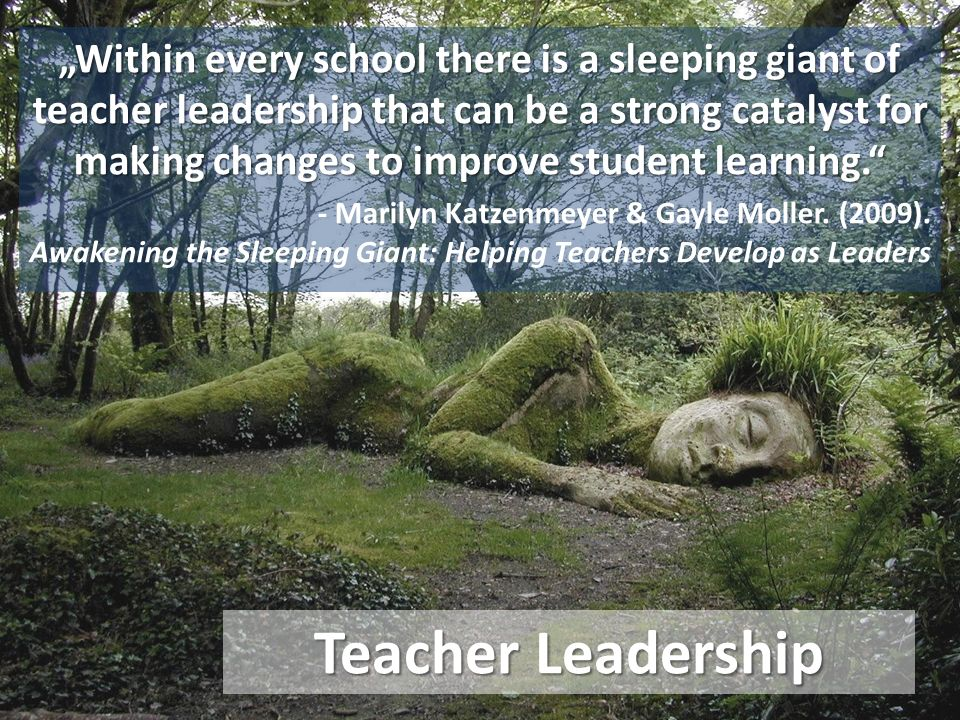 "Teacher Leadership ""Within every school there is a sleeping giant of teacher leadership that can be a strong catalyst for making changes to improve student learning. - Marilyn Katzenmeyer & Gayle Moller."