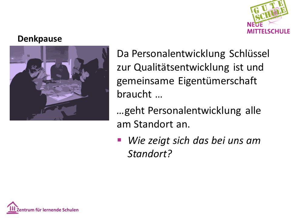 Denkpause Da Personalentwicklung Schlüssel zur Qualitätsentwicklung ist und gemeinsame Eigentümerschaft braucht … …geht Personalentwicklung alle am Standort an.