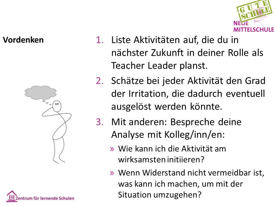 Vordenken 1.Liste Aktivitäten auf, die du in nächster Zukunft in deiner Rolle als Teacher Leader planst.