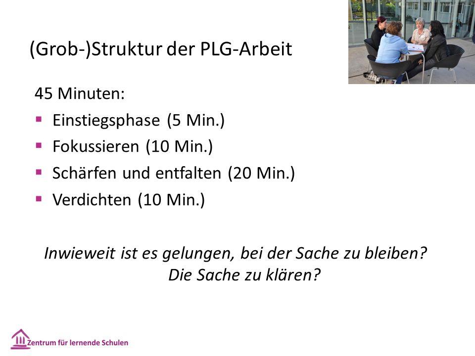 (Grob-)Struktur der PLG-Arbeit 45 Minuten:  Einstiegsphase (5 Min.)  Fokussieren (10 Min.)  Schärfen und entfalten (20 Min.)  Verdichten (10 Min.) Inwieweit ist es gelungen, bei der Sache zu bleiben.