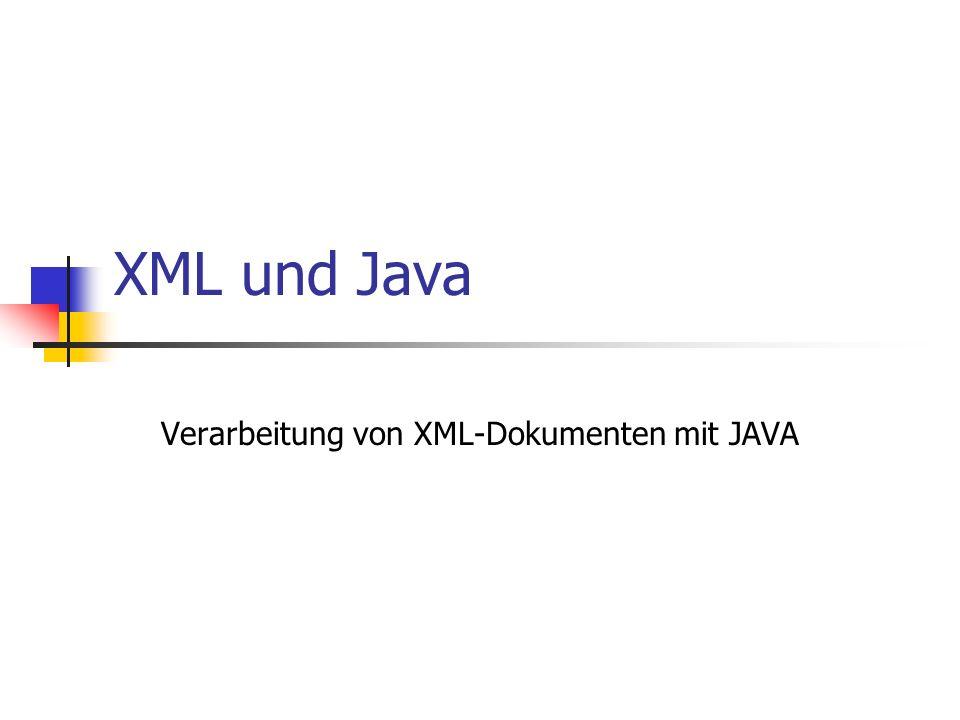 © till.haenisch@gmx.de Beispiel: Artikel public class ArtikelParser extends DefaultHandler { private ArtikelListe Liste; private Artikel A; private String buf; public void startElement(String uri, String local, String raw, Attributes attrs) { if (local.equals( ArtikelListe )) Liste = new ArtikelListe(); if (local.equals( Artikel )) { buf = new String(); String ID = attrs.getValue(0); // Hat nur ein Attribut - ID A = new Artikel(ID); } public void characters(char ch[], int start, int length) { buf+=new String(ch,start,length); } public void endElement(String uri, String local, String qName) { if (local.equals( Artikel )) { A.setBeschreibung(buf); Liste.add(A); }
