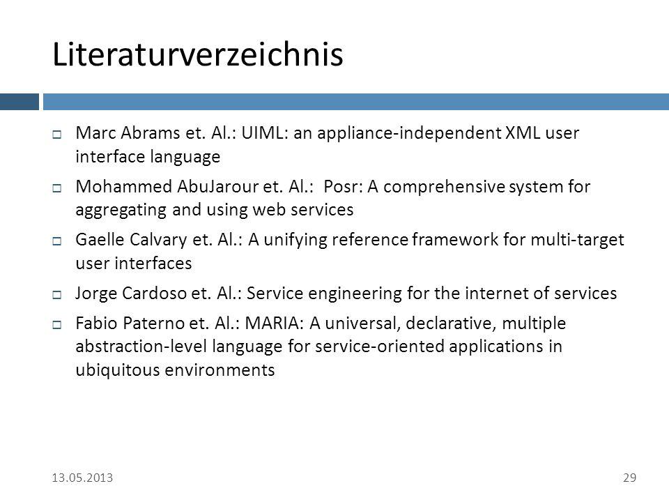 Literaturverzeichnis  Marc Abrams et. Al.: UIML: an appliance-independent XML user interface language  Mohammed AbuJarour et. Al.: Posr: A comprehen