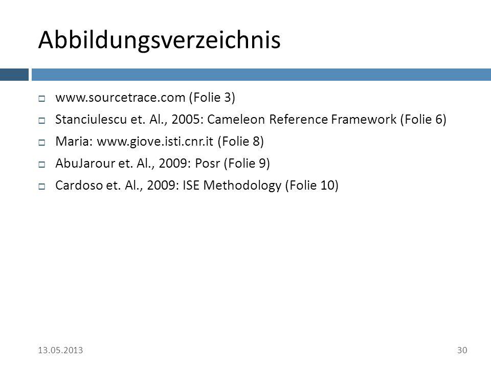 Abbildungsverzeichnis  www.sourcetrace.com (Folie 3)  Stanciulescu et. Al., 2005: Cameleon Reference Framework (Folie 6)  Maria: www.giove.isti.cnr