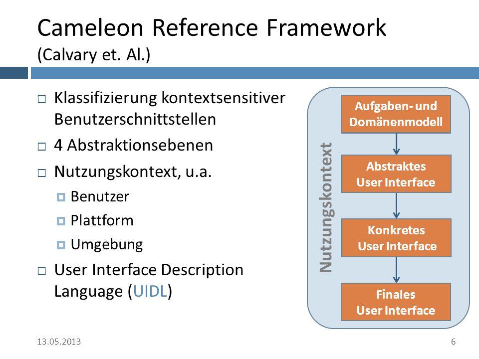 Ausblick  Komposition im konkreten UI  Ontologiebasierter Ansatz der Aufgabenhierarchie  Vergleichen und Zusammenfassen von Domänenmodellen 13.05.201327 Aufgaben- und Domänenmodell Abstraktes User Interface Konkretes User Interface Finales User Interface
