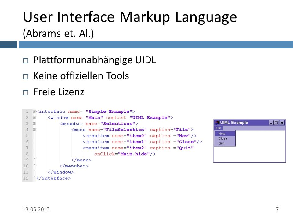 User Interface Markup Language (Abrams et.