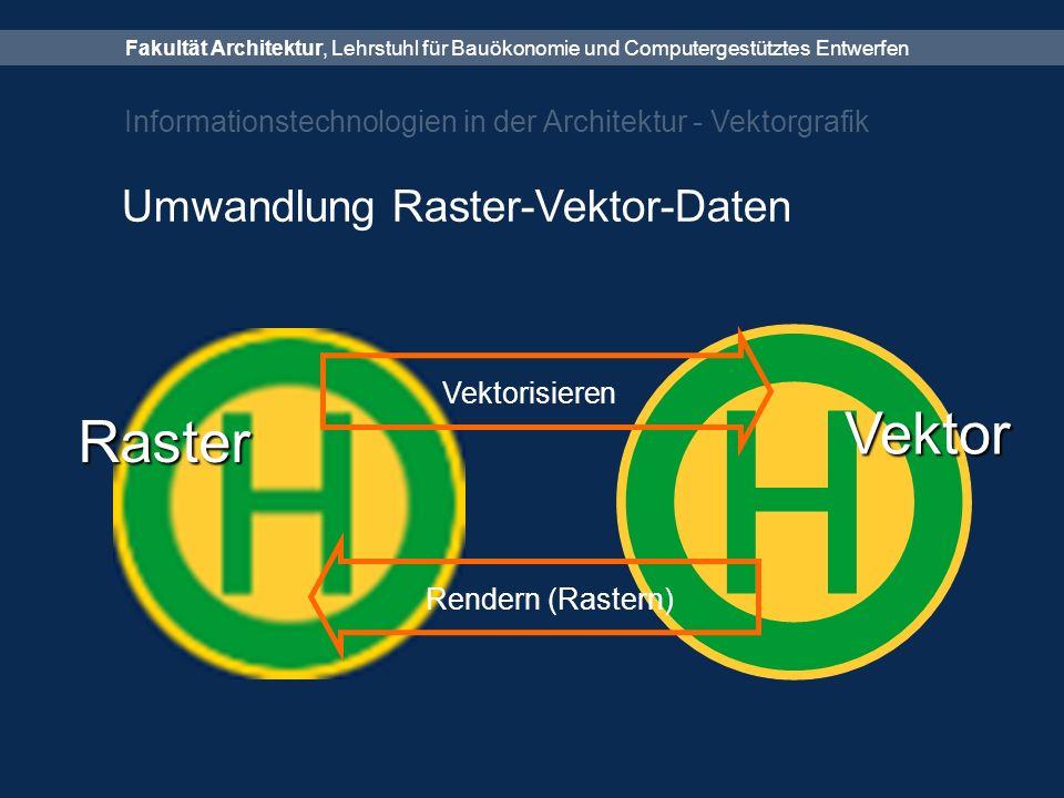 Fakultät Architektur, Lehrstuhl für Bauökonomie und Computergestütztes Entwerfen Informationstechnologien in der Architektur - Vektorgrafik Umwandlung Raster-Vektor-Daten Raster Vektor Vektorisieren Rendern (Rastern)