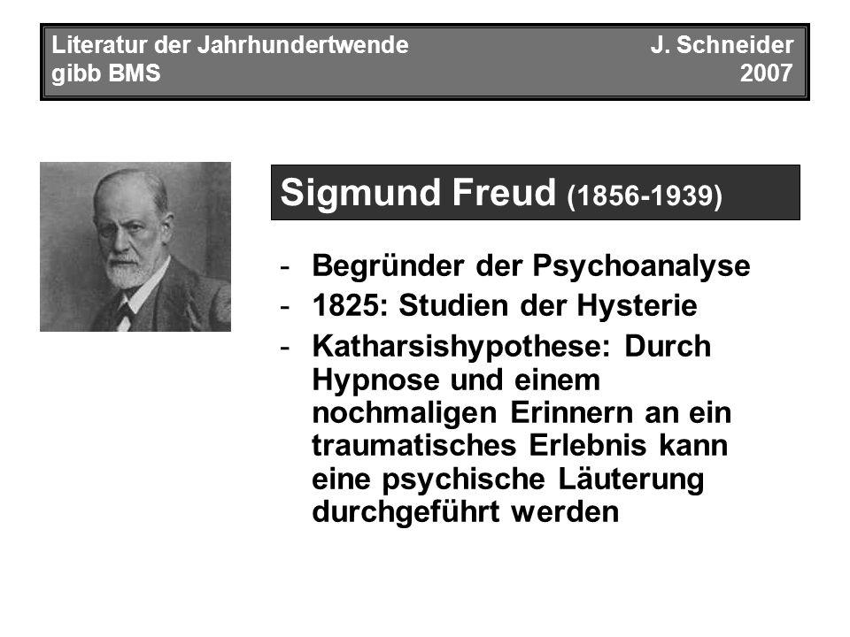 Literatur der JahrhundertwendeJ. Schneider gibb BMS2007 -Begründer der Psychoanalyse -1825: Studien der Hysterie -Katharsishypothese: Durch Hypnose un