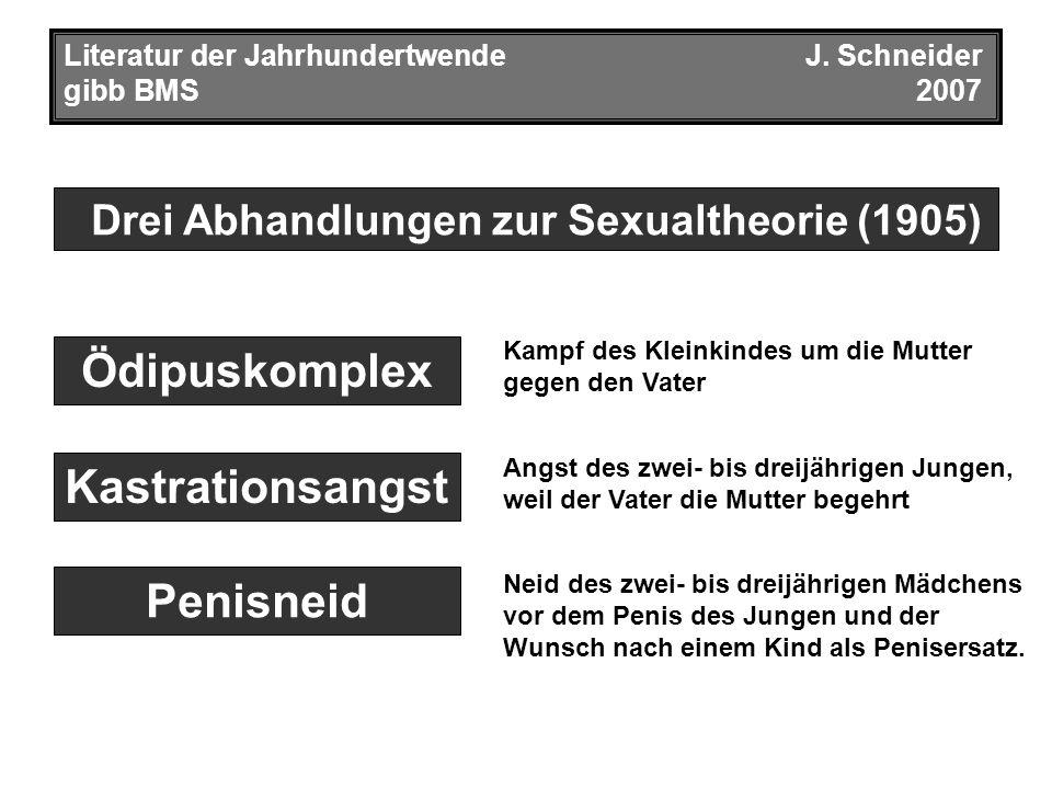Drei Abhandlungen zur Sexualtheorie (1905) Literatur der JahrhundertwendeJ. Schneider gibb BMS2007 Kastrationsangst Penisneid Ödipuskomplex Kampf des
