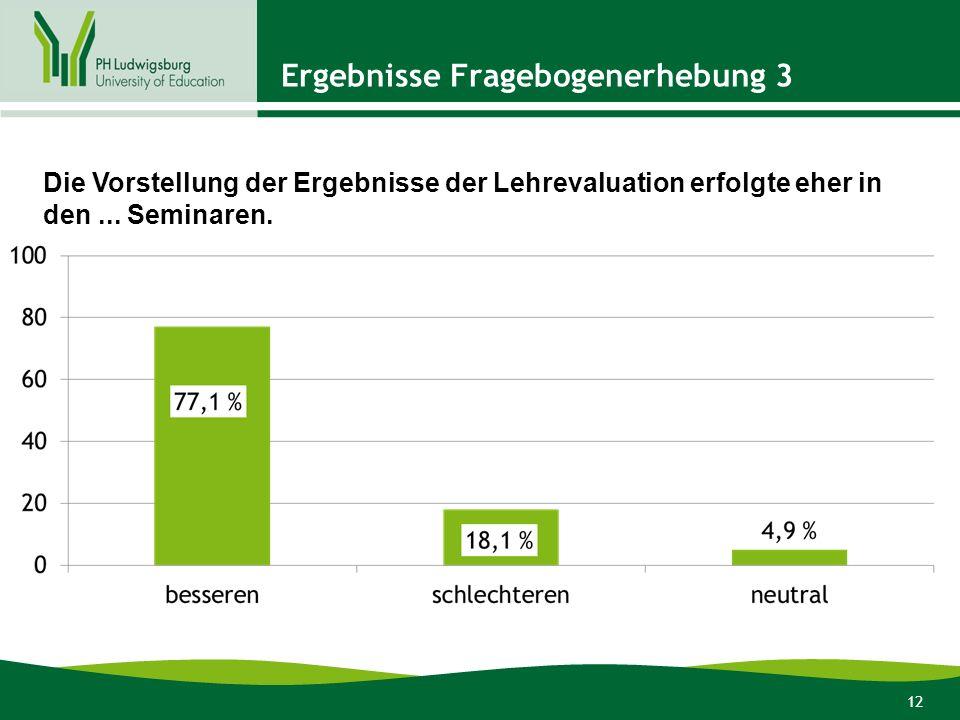 12 Ergebnisse Fragebogenerhebung 3 Die Vorstellung der Ergebnisse der Lehrevaluation erfolgte eher in den...