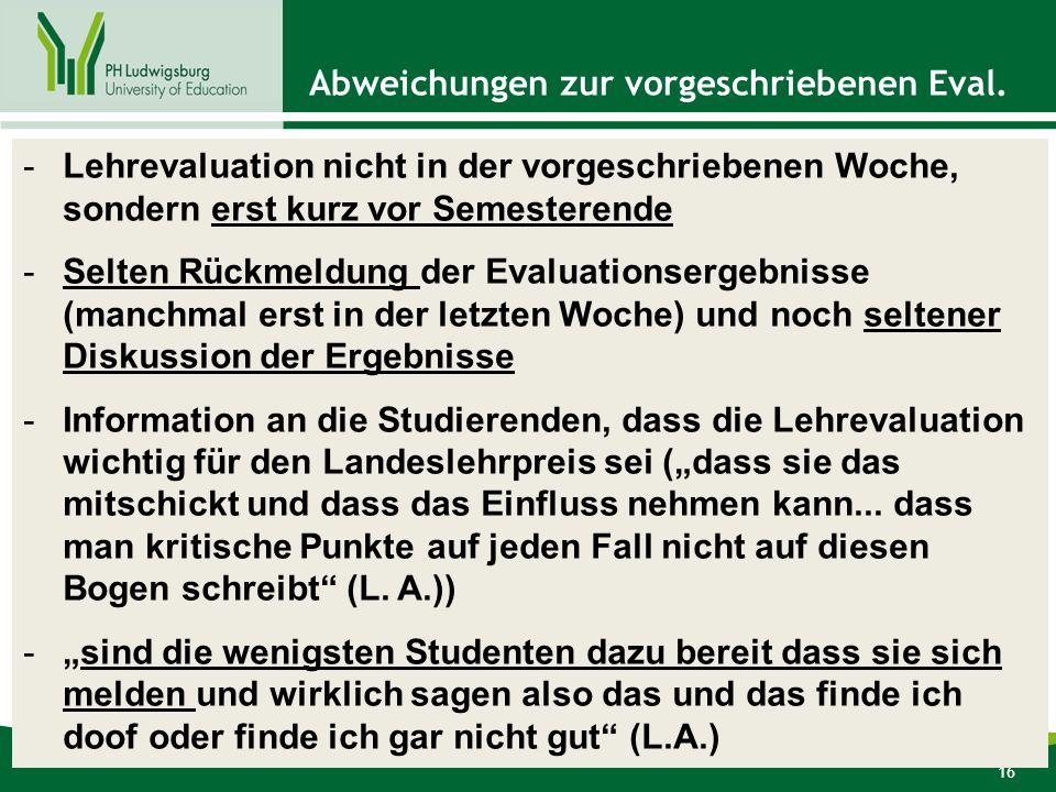 16 Abweichungen zur vorgeschriebenen Eval.