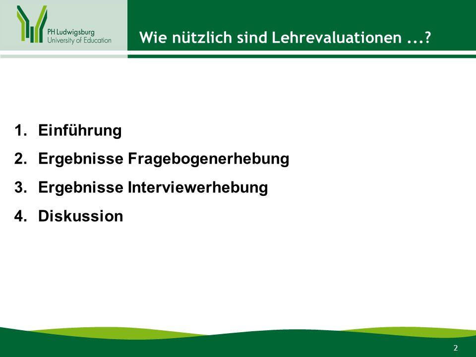2 1.Einführung 2.Ergebnisse Fragebogenerhebung 3.Ergebnisse Interviewerhebung 4.Diskussion Wie nützlich sind Lehrevaluationen...