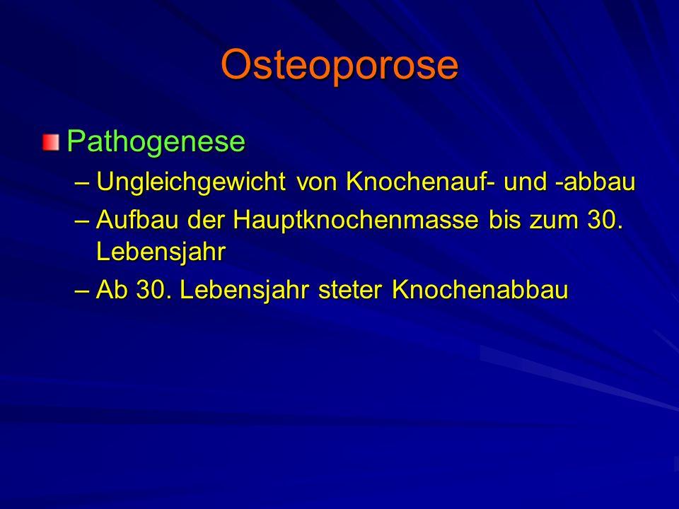 Osteoporose Pathophysiologie –Jährlicher Verlust von ca.