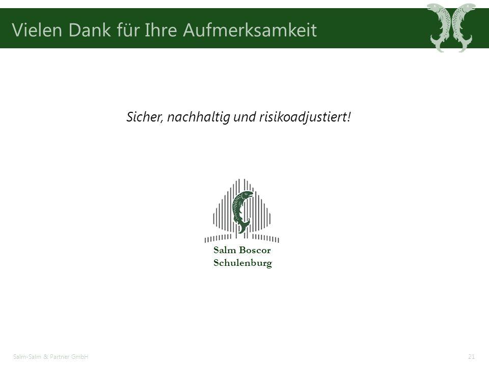 Vielen Dank für Ihre Aufmerksamkeit Salm-Salm & Partner GmbH21 Sicher, nachhaltig und risikoadjustiert.