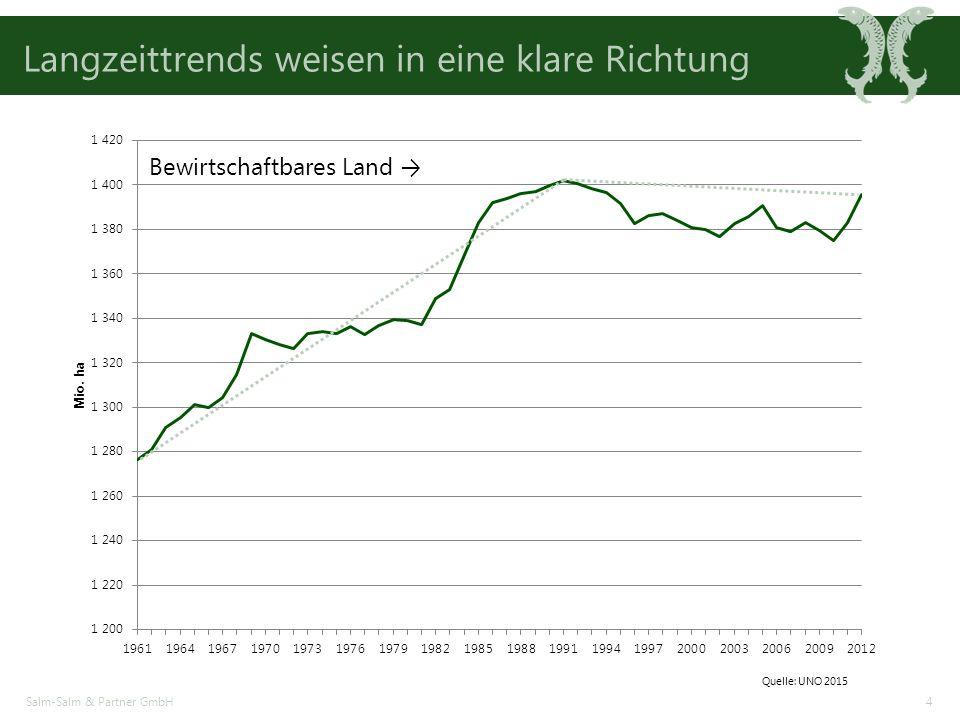 Salm-Salm & Partner GmbH4 Langzeittrends weisen in eine klare Richtung Bewirtschaftbares Land → Quelle: UNO 2015