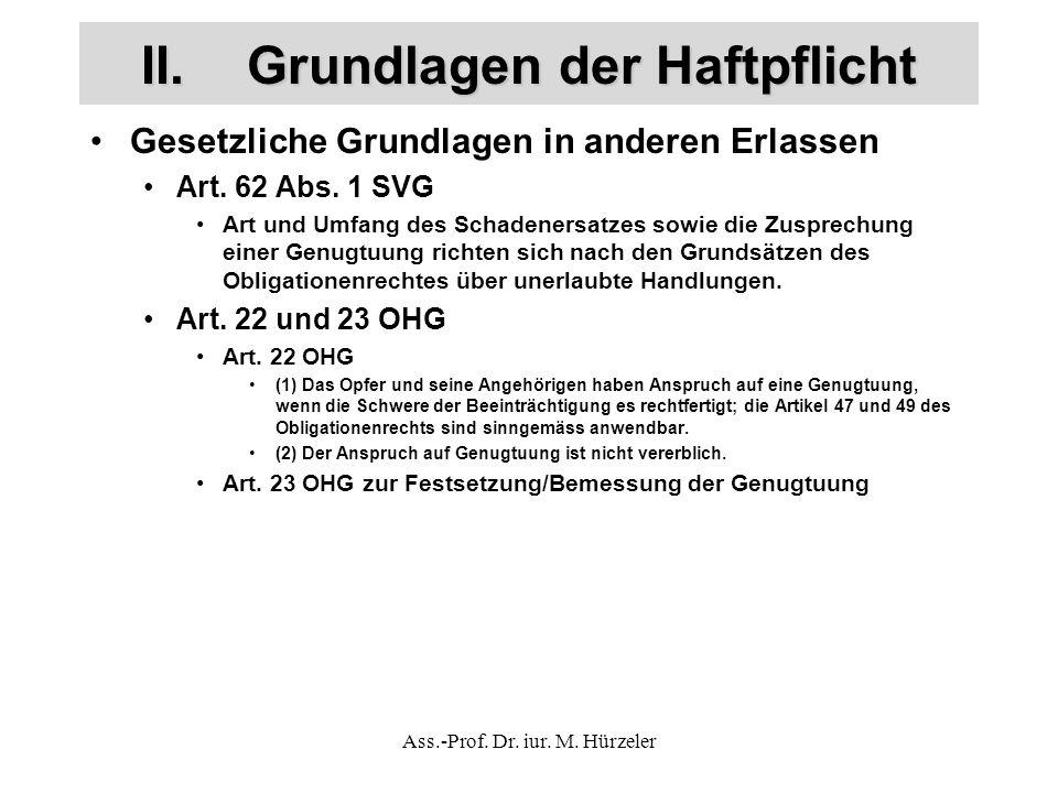 II.Grundlagen der Haftpflicht Gesetzliche Grundlagen in anderen Erlassen Art.