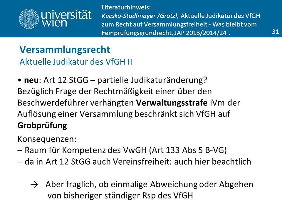 neu: Art 12 StGG – partielle Judikaturänderung.
