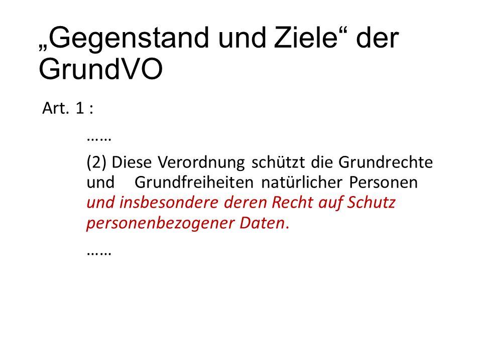 """""""Gegenstand und Ziele der GrundVO Art."""